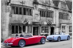 Cars in Chipping Campden ~ 0013A~ Healeys outside Badgers Hall